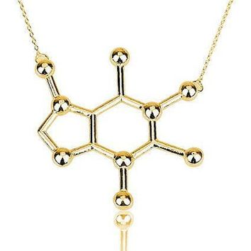 Jisensp New Simple Caffeine Molecule Necklace Structure Chemistry Women and Men Necklace Small Pendant Long Chain Necklace N137