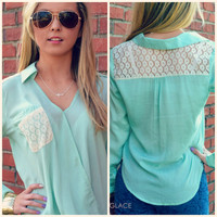 Prairie Grove Mint Cross Over Blouse