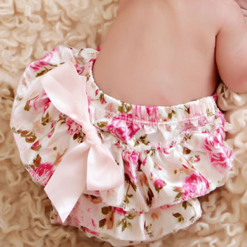 Vintage Floral Bloomer Summer Satin Ruffle Baby Bloomers Newborn Photo Prop Toddlers Girls Baby Diaper Cover KS004