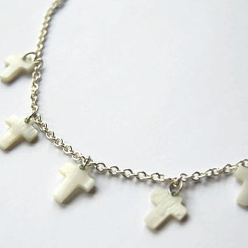 Eco friendly white cross charm necklace - Hipster jewelry - Repurposed materials - Mother of pearl or shell necklace - Silver plated chain
