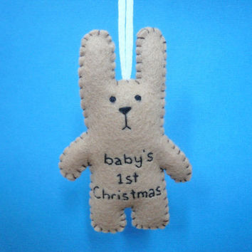 ChristmasinJuly 20 percent off baby's 1st Christmas bunny tree ornament shower decoration girl boy