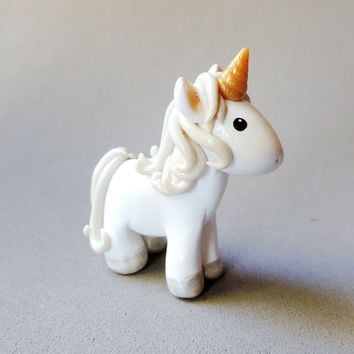 Magical Golden Horned Unicorn Figure - Handmade Polymer Clay Fantasy Animal