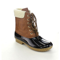 AXNY DYLAN-3 Women's Two-tone Lace Up Ankle Rain Duck Boots | Overstock.com Shopping - The Best Deals on Boots