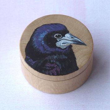 bird ring box, ROOK ring box, bird cufflink box, bird jewelry box, bird trinket box, hand painted ring box, wooden ring box