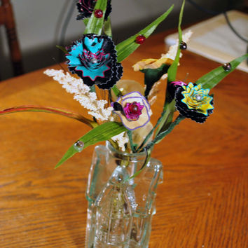 Glass House-Vintage-Vase-Up Cycled Pencil Shaving Flowers -Half Dozen-Art Deco-Cottage Chic Inspired