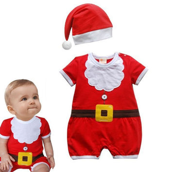 Christmas Baby Rompers Costume Kids Newborn Clothes Short Sleeve Spring Children infant clothing Set Top+Hat+Blet