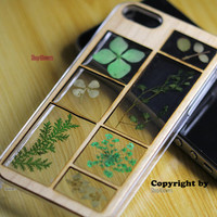Unique Pressed flower Real wood Frame  Daisies flowers Clover Dried iphone 4s case iphone 5s case iphone 5c Cases cover wood frame skin gift