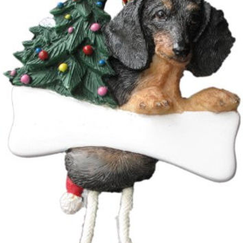 "Dachshund Ornament with Unique ""Dangling Legs"" Hand Painted and Easily Personalized Christmas Ornament"