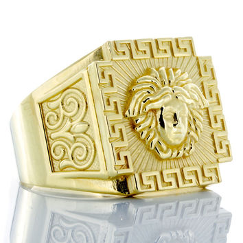 10K Square Face Versace Ring with Greek Key Border and Filigree Accents