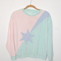Super Kawaii Vintage Pastel Velour Sweatshirt sz Medium Seapunk Soft Grunge