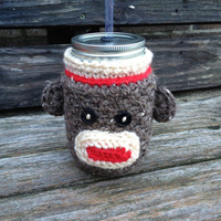 Sock Monkey Mason Jar Cozy - brown