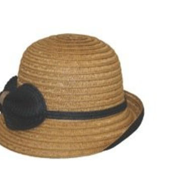 Jeanne Simmons Women's Hat- Bucket Brim, Bow and Band Accent Hat (Tan/Black)