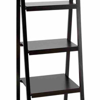 Benzara Black Leaning Ladder Dark Wall Bookcase Bookshelf