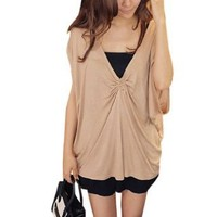 Allegra K Women Ruched Front Deep V Neck Short Bat Wing Sleeve Blouse Beige S