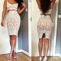 EYELASH LACE TWO-PIECE DRESS