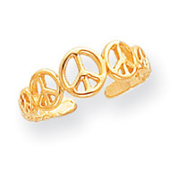 14k Peace Sign Toe Ring D1959