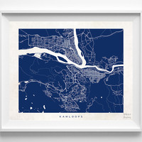 Kamloops, British Columbia, Canada, Print, Map, Poster, State, City, Street Map, Art, Decor, Town, Illustration, Room, Wall Art, Customize