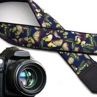 InTePro silky Butterfly camera strap. Dark blue DSLR Camera Strap. Camera accessories.