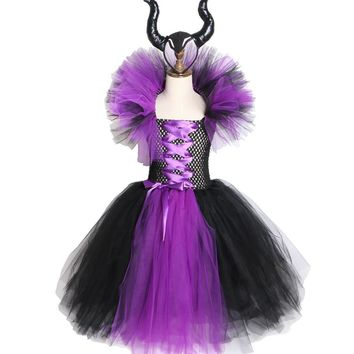 Cool Maleficent Evil Queen Girls Tutu Dress with Horns Halloween Cosplay Witch Costume for Girls Kids Party Dress Children ClothingAT_93_12