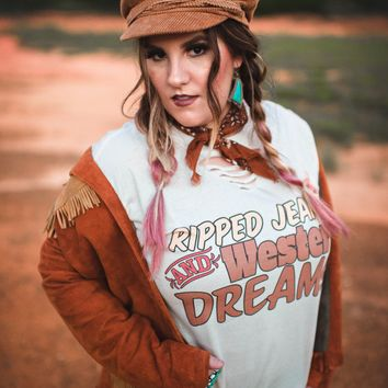 "Gina ""Ripped Jeans and Western Dreams"" Tee"