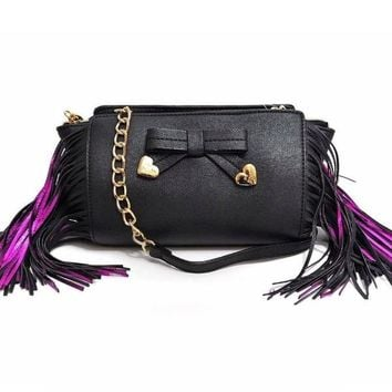 Betsey Johnson Purple Fringe Crossbody Handbag