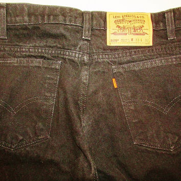 Men's Vintage 1990's Levi 505 Black Denim Jeans Sz 33 32