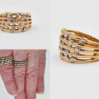 Vintage Michael Anthony 10K Yellow Gold Ring, White Gold Wash, Woven, Reticulated, Diamond Cut, Statement, Size 4 1/2, Nice! #b886