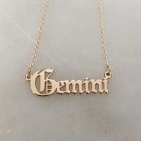 Old English Gemini Necklace in Gold