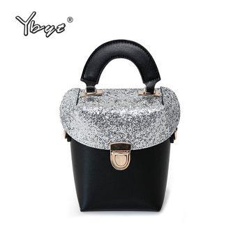 YBYT brand 2018 new panelled sequined women bucket bag ladies cell phone coin purses handbags shoulder messenger crossbody bags