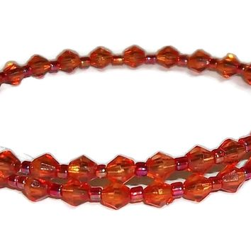 Dark Orange Acrylic Beaded Artisan Crafted Stackable Wrap Bracelet (XS-S)