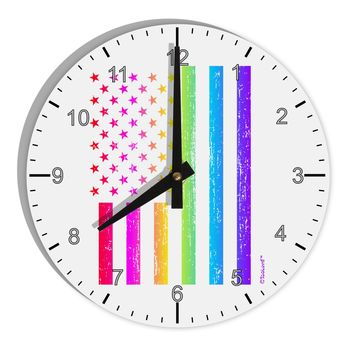 "American Pride - Rainbow Flag 8"" Round Wall Clock with Numbers"
