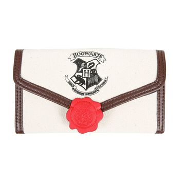 Licensed cool Harry Potter Hogwarts School Letter Ladies Flap Wallet w/ Red Faux Wax Seal NEW
