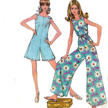 Palazzo Pants Jumpsuit 1960s Vintage Sewing Pattern McCall's 9609 Size 12 Bust 34 UNCUT FF