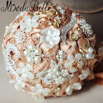 Modabelle Bling Crystal Rhinestone Wedding Flowers Bridal Bouquets Luxury Champagne Wedding Bouquet For Brides Bouquets Brooch
