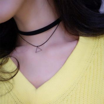 ONETOW Stylish Shiny New Arrival Gift Jewelry Vintage Korean Simple Design Double-layered Set Necklace [10412391060]