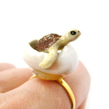 Porcelain Ceramic Sea Turtle Hatching from Egg Shaped Adjustable Ring | Handmade