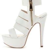 Qupid Strappy Zip-Up Platform Heels by Charlotte Russe - White