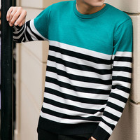 Mens Half Stripe Casual Sweater