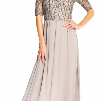 Adrianna Papell - AP1E202210 Elbow Sleeves Beaded Chiffon Gown