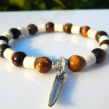 Men's Tiger Eye Bracelet, Men's Howlite Bracelet, Men's Gemstone Bracelet, Gift for Men