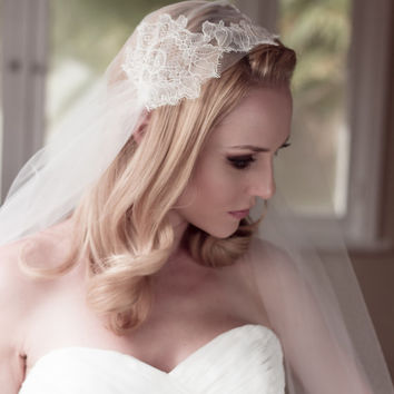 Bridal Wedding Veil Chantilly Lace Juliet Bridal Cap, Ivory, Champagne, Fingertip, Cathedral, Waltz, Chapel, Style: Lillian #1210