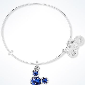 Disney Mickey Mouse Birthstone Bangle Alex and Ani September Silver Finish New