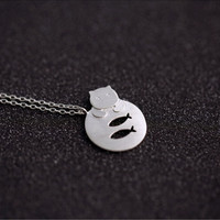 925 sterling silver Cat and fish  Necklace,simple sterling silver necklace, A delicate gift