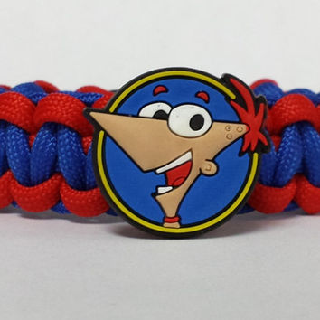 Phineas and Ferb Bracelet, Phineas Bracelet, Phineas and Ferb Jewelry, Blue and Red Bracelet, Custom Bracelet. 26 Colors to choose from
