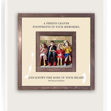 """A Friend Leave Footprints In Your Memories 3""""x 3"""" Copper & Glass Photo Frame"""