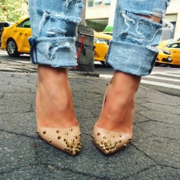 Alexis Nude Spiked Pumps