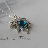 London Blue Topaz and Hill Tribe Fern Leaf Charm Sterling Silver Necklace,  Pyrite Accent, December Birthstone, Anniversary gift
