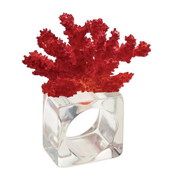 Reef Napkin Ring S/4 | Coral