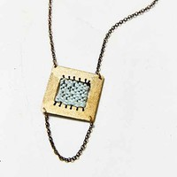 Geography 541 X Urban Renewal Blue Woven Square Necklace- Assorted One
