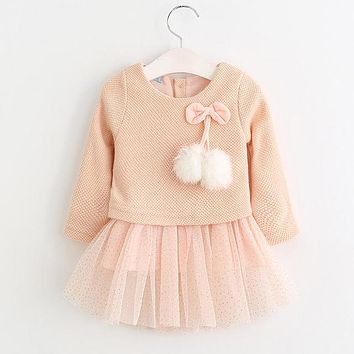 Two Piece Baby Girl Long Sleeve Plaid Bear Straps Casual Dresses